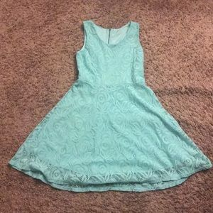 Lace Zip Up Aqua Dress